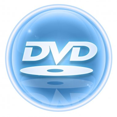 DVD icon ice, isolated on white background.