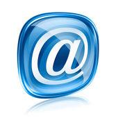 e-mailové ikony modré sklo, izolovaných na bílém pozadí