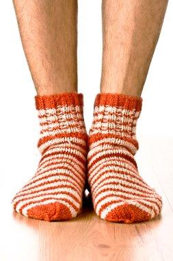 Man legs in strip socks