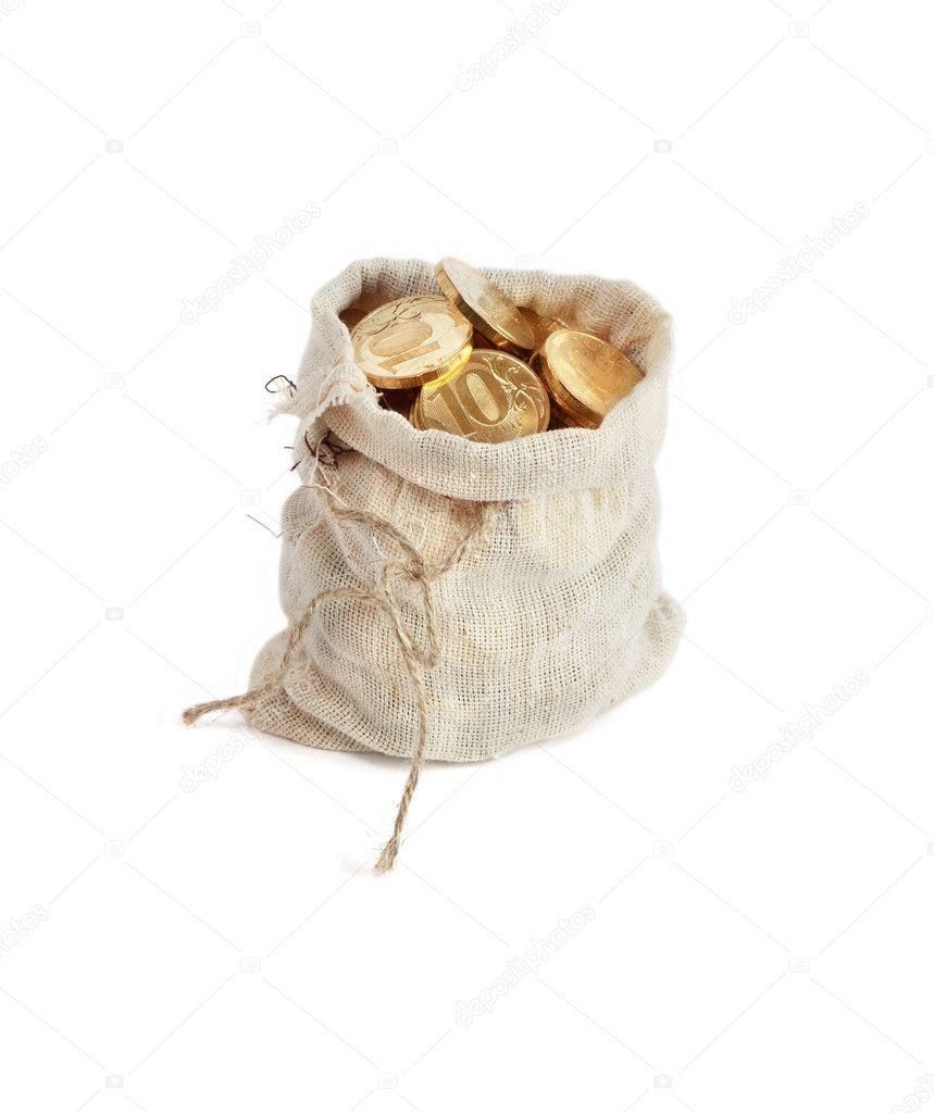 976e0f9a2b Έννοια του πλούτου. ανοικτή λινάτσα τσουβάλι γεμάτο χρυσά νομίσματα που  στέκεται πάνω σε λευκό φόντο — Εικόνα από ...