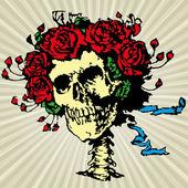 Totenkopf und Rosen