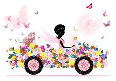 Girl on a romantic flower car clip art vector