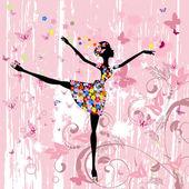 Fényképek Balerina lány virággal, pillangók grunge