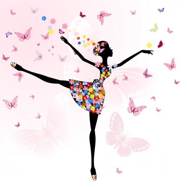 Ballerina girl with flowers with butterflies