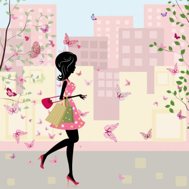 Girl with shopping in the spring