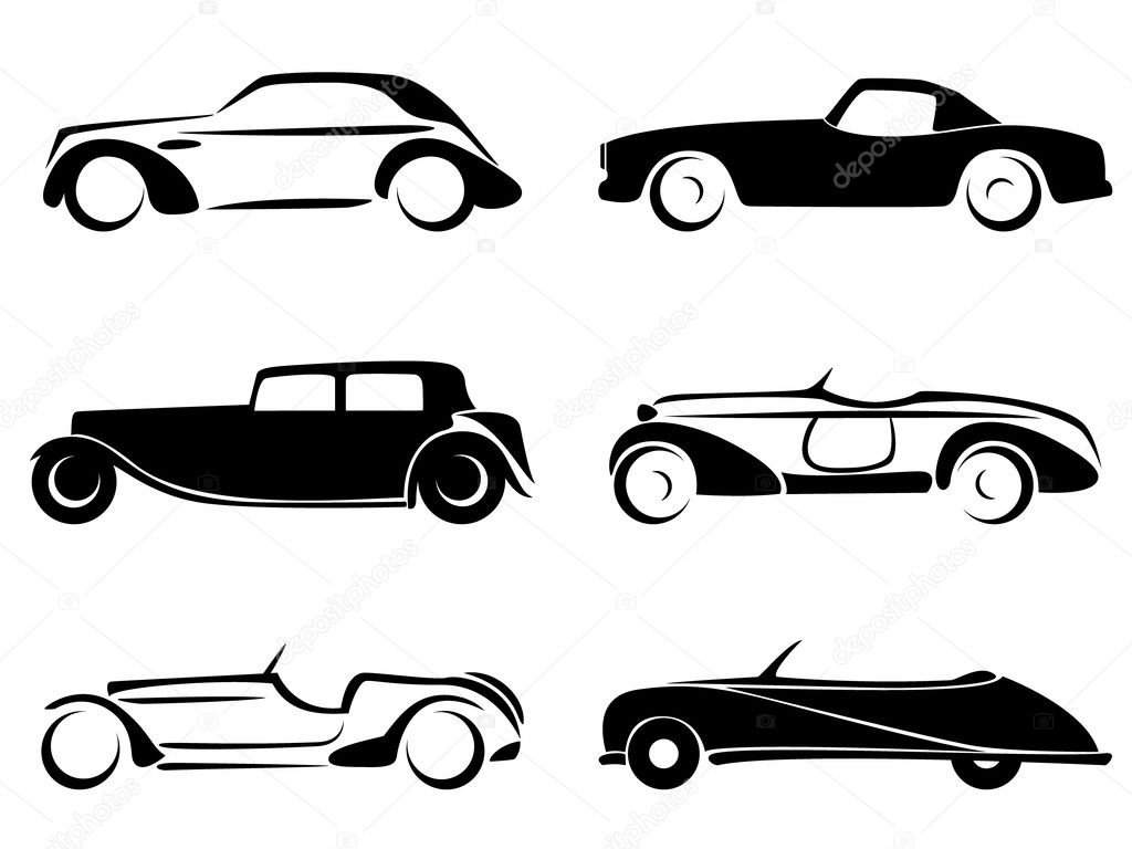 Old car silhouette vector 15