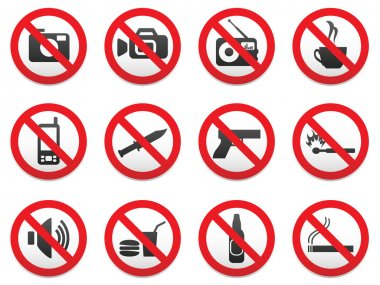 Prohibiting signs vector format set.