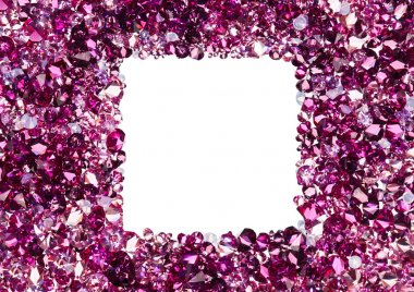 Square frame made from many small ruby diamonds, with copyspace