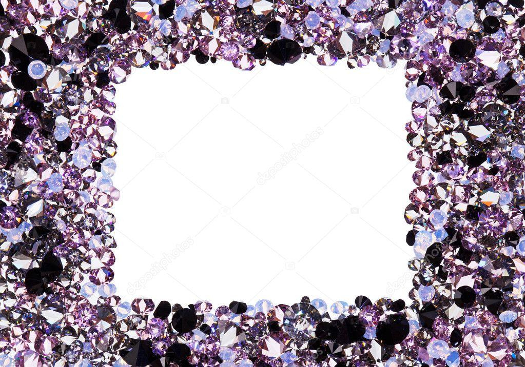 marco cuadrado de muchos pequeños diamantes púrpuras, con copyspac ...