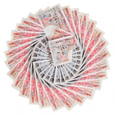 50 pound sterling bank notes fanned out, isolated on white