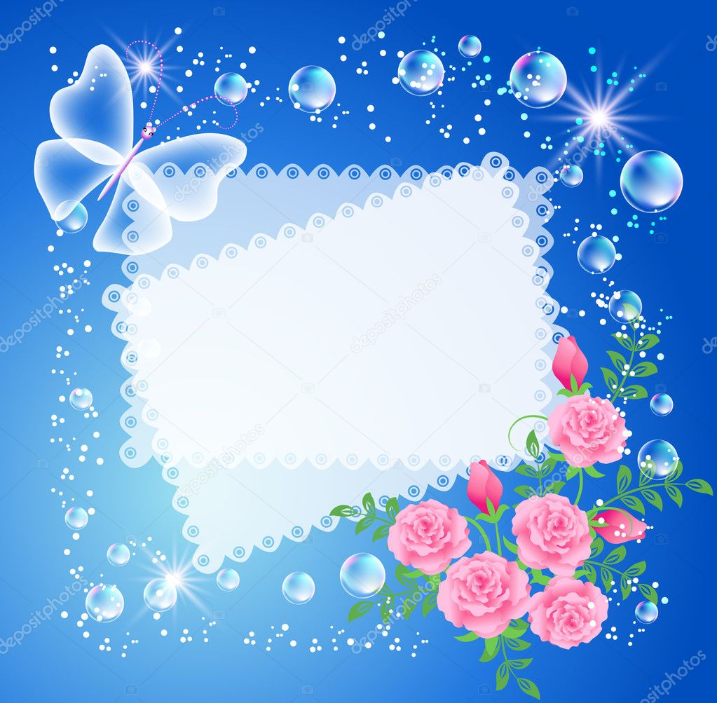 magic background with roses butterfly frame and a place for text or photo vector by marisha