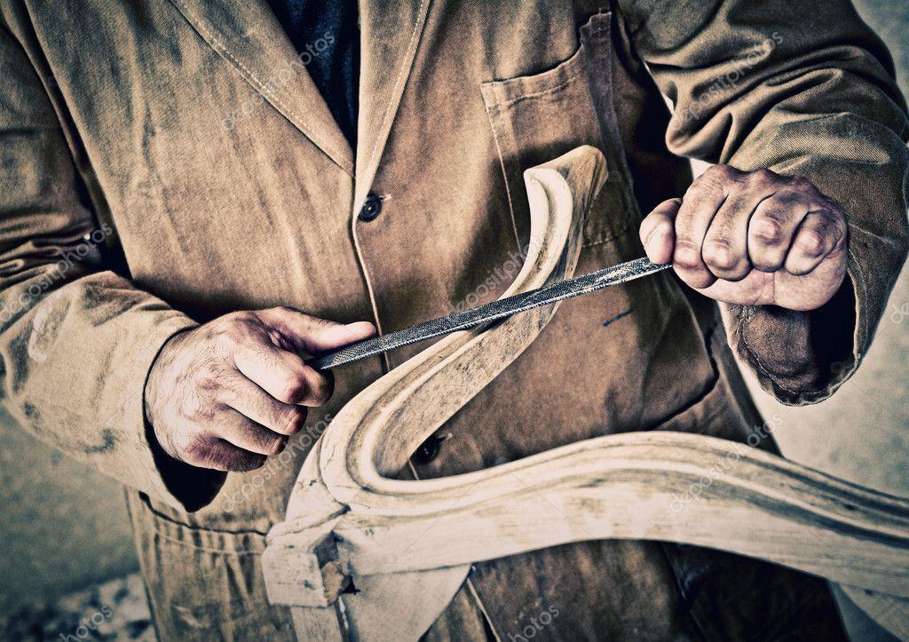 Carpinteiro no trabalho — Fotografia de Stock