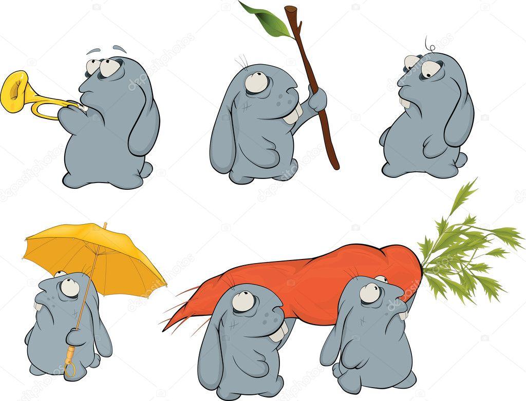 Clipart Sur Un Lapin Bleu Dessin Anime Image Vectorielle Liusaart C 7163542