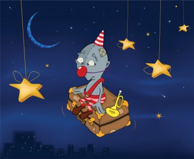 The clown flies on a suitcase.Celebratory night. Cartoon