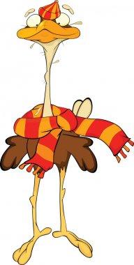 Ostrich. Cartoon