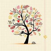 Fényképek Őszi fa, vázlat, rajz, a design