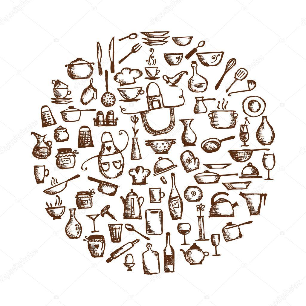 Ustensiles de cuisine croquis dessin pour votre conception image vectorielle kudryashka - Ustensile de cuisine pour rechauffer ...