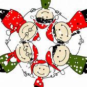 Veselé Vánoce! šťastné rodiny ilustrace pro návrh