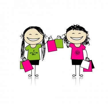 Shopping with friends. Girls with bags for your design