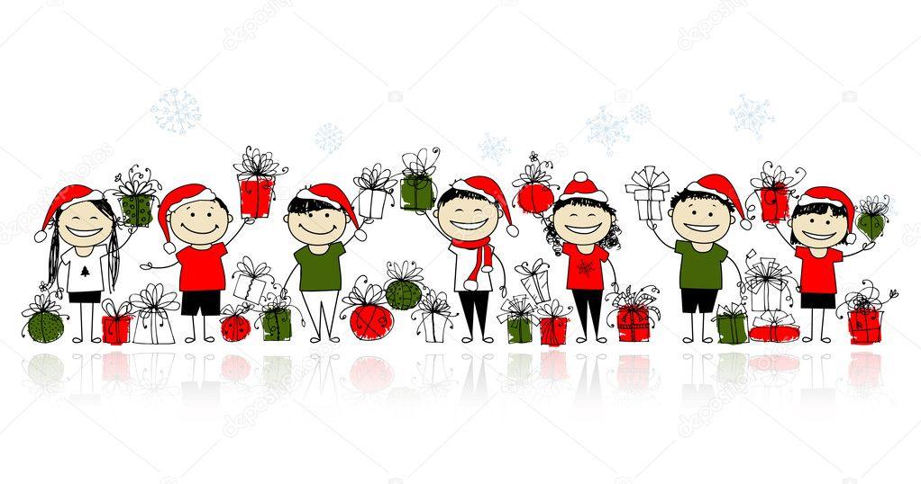 Weihnachtsgeschenke. glückliche Freunde zusammen — Stockvektor ...