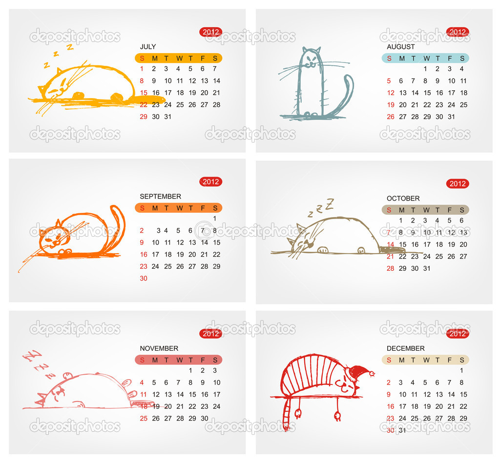 Illustration Calendar Design : Vector calendar july funny cats design — stock