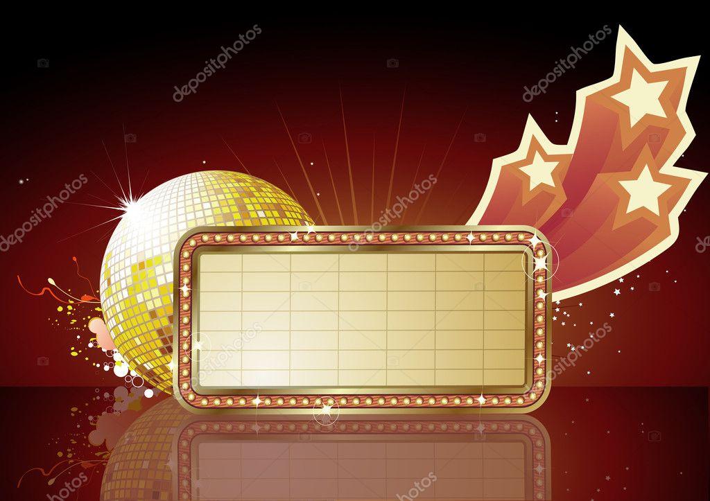 Vector illustration of retro illuminated Movie marque Blank sign stock vector