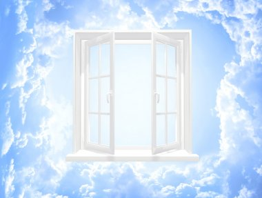 Conceptual image - window in sky stock vector
