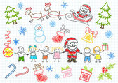 schizzi di vettore - Babbo Natale e bambini