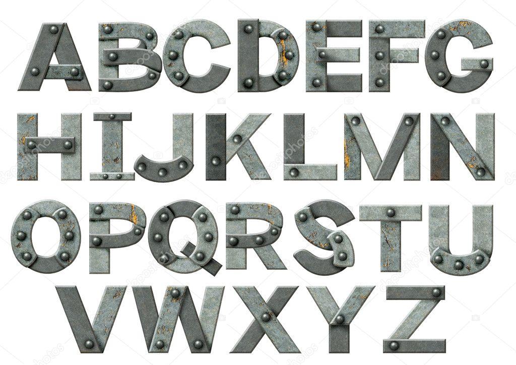 Alfabeto letras de metal oxidado con remaches foto de - Letras de hierro ...