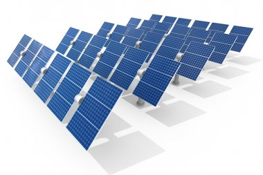 Solar power plant isolated on white background stock vector