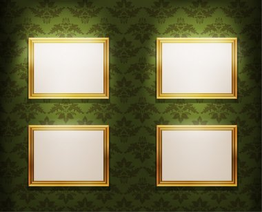 Empty photo frames on wall, eps10 vector