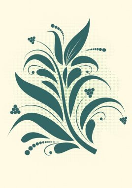 Floral background - decorative branch with shadow vectorized clip art vector