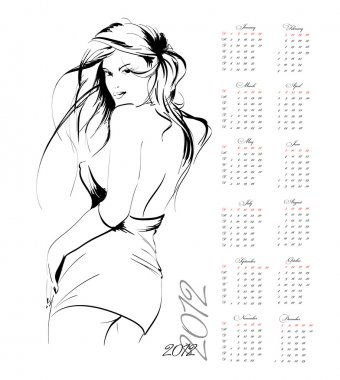 Calendar 2012 in style of a fashion-sketch. The girl.