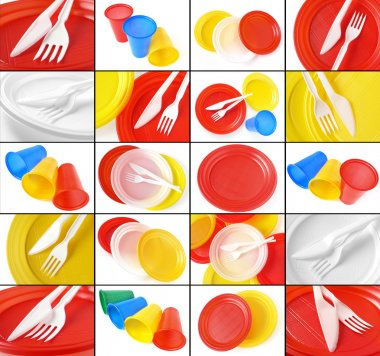 Disposable tableware collage