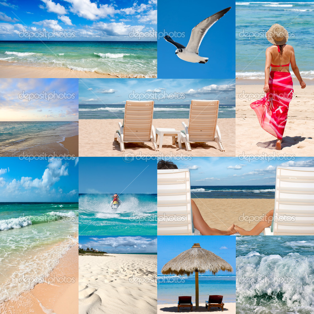 Collage about beach vacations