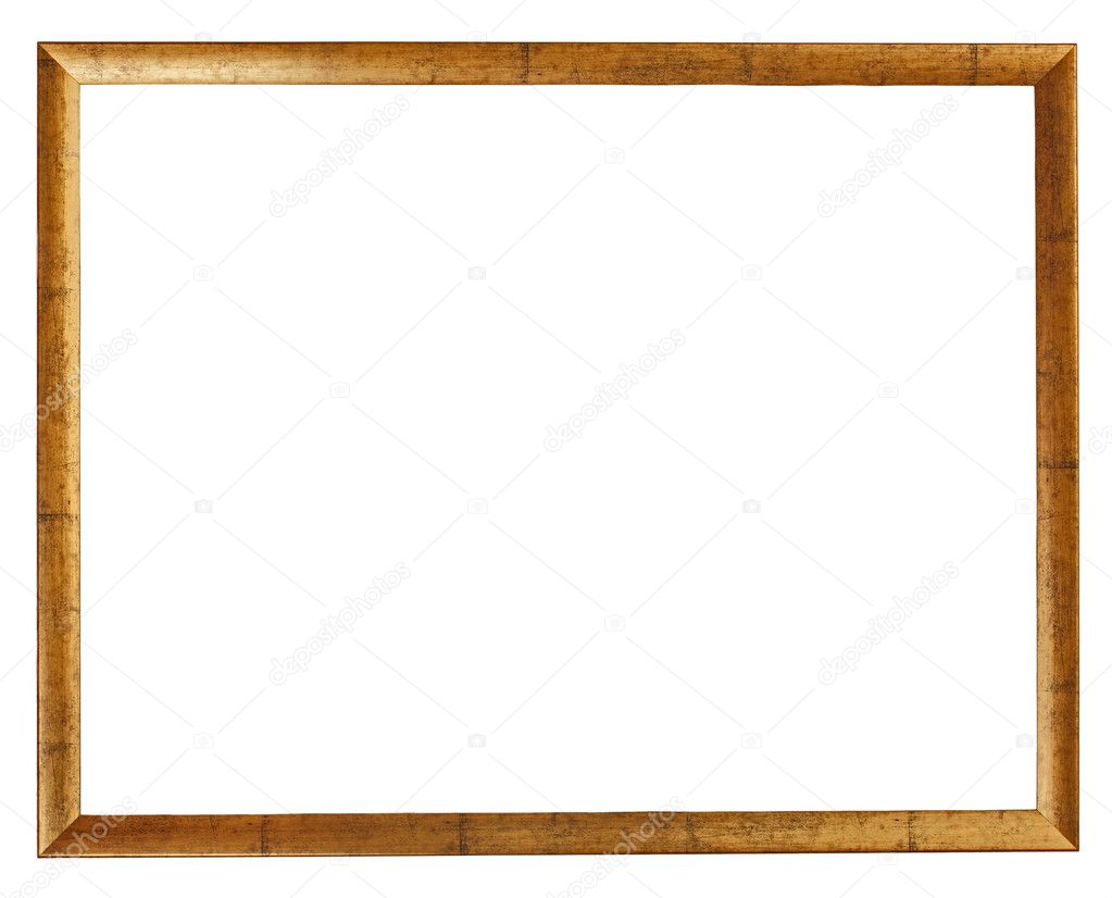 Gold plated wooden picture frame isolated