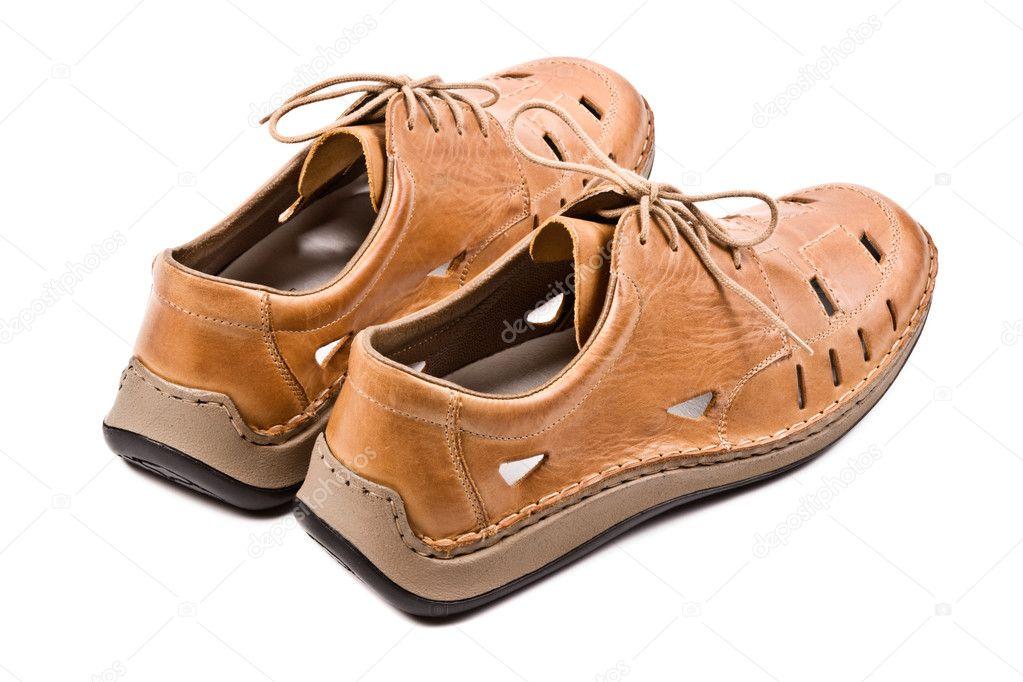 b6eb54f38b8 Δύο Ανδρικά παπούτσια καλοκαιρινά απομονωθεί — Φωτογραφία Αρχείου ...