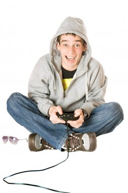 Joyful guy with a joystick