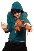 Fotografie Mann in Sonnenbrillen mit ein wenig Gitarre