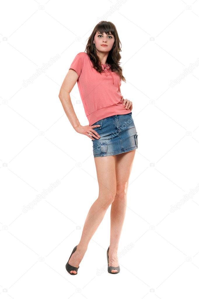 Длинноногая девушка в мини юбке