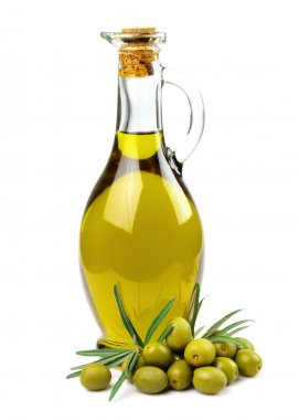 Branch with olives and a bottle of olive oil stock vector