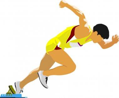 Short-distance runner. Start. Vector illustration