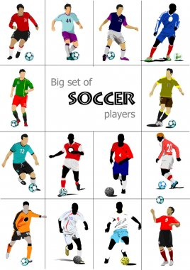 Big set of soccer players. Colored Vector illustration for desig