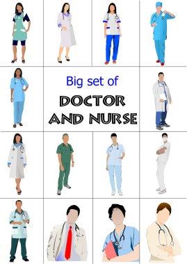Big set of Medical doctors and nurse. Vector illustration clip art vector