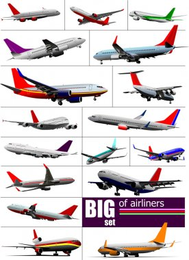 Big set 0f Airliners. Vector illustration stock vector