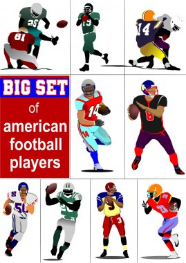 Big set of American football player s silhouettes in action. Vec