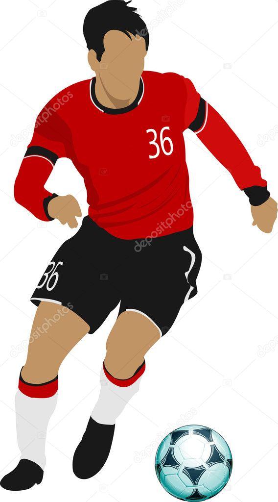 jugadores de fútbol. Ilustración de vector color para diseñadores ...