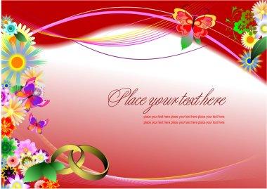 Wedding invitation on purple background