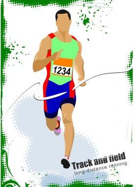 Long-distance runner. Poster. Vector illustration