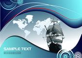 Abdeckung für broschüre mit alten segelschiff
